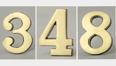 "2"" Self-Adhesive Brass Numbers"