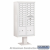 Salsbury 3416D-20WHT 20 Door 4C Pedestal Mailbox - White with Parcel Locker