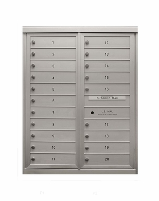 20 Single Height Tenant Doors Two Column Front Loading Max-D20 USPS Approved 4C Horizontal Mailboxes