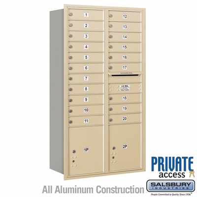 Salsbury 3716D-20SRP 4C Mailboxes 20 Tenant Doors Rear Loading