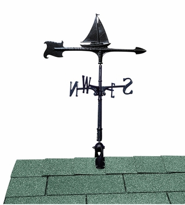 """Whitehall 24"""" Accent Directions Maritime SAILBOAT Weathervane in Black"""