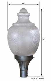 26 inch H.I.D. Light Fixture- 26 inch Acorn Globe and Fitter