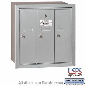 Vertical Mailbox - 3 Doors - Recessed Mounted - USPS Access
