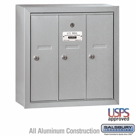 Salsbury 3503ASU 3 Door Vertical Mailbox Aluminum Finish Surface Mounted USPS Access