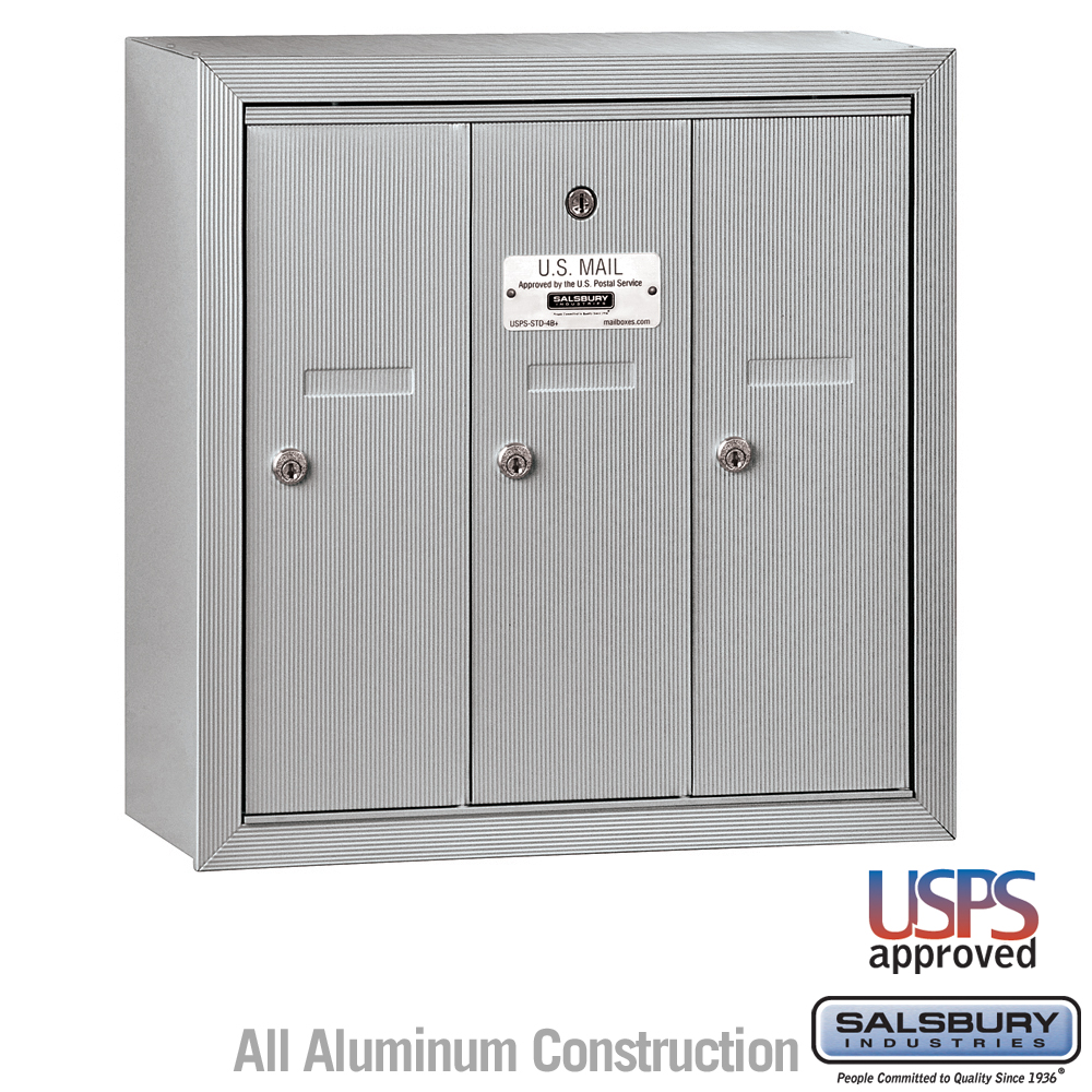 Marvelous Salsbury 3503ASU 3 Door Vertical Mailbox Aluminum Finish Surface Mounted  USPS Access