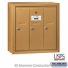 Salsbury 3503BSU 3 Door Vertical Mailbox Brass Finish Surface Mounted USPS Access