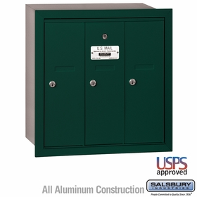 Salsbury 3503GRU 3 Door Vertical Mailbox Green Recessed Mounted USPS Access