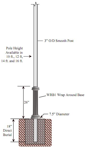 Special lite lighting 3 inch diameter smooth cast aluminum 3 inch diameter smooth cast aluminum commercial light pole with wrap around base aloadofball