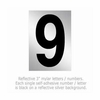 Salsbury 1215-9 Reflective Number 9 (3 Inch)