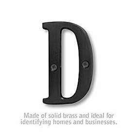 Salsbury 1240BLK-D 3 Inch Solid Brass Letter Black Finish D