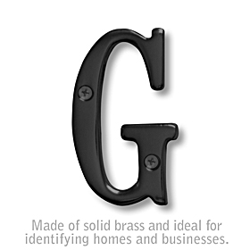 Salsbury 1240BLK-G 3 Inch Solid Brass Letter Black Finish G