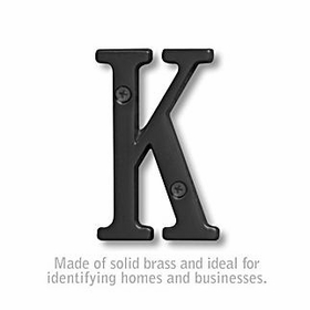 Salsbury 1240BLK-K 3 Inch Solid Brass Letter Black Finish K