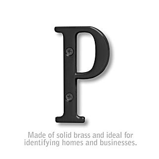 Salsbury 1240BLK-P 3 Inch Solid Brass Letter Black Finish P