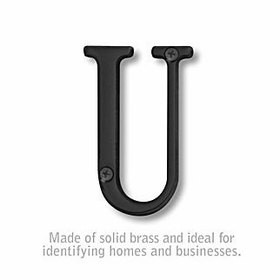 Salsbury 1240BLK-U 3 Inch Solid Brass Letter Black Finish U