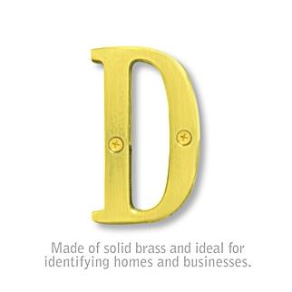 Salsbury 1240B-D 3 Inch Solid Brass Letter Brass Finish D