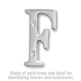 Salsbury 1240C-F 3 Inch Solid Brass Letter Chrome Finish F