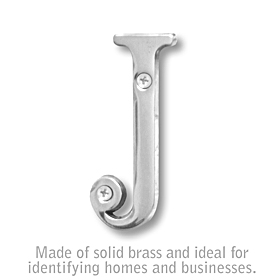 Salsbury 1240C-J 3 Inch Solid Brass Letter Chrome Finish J