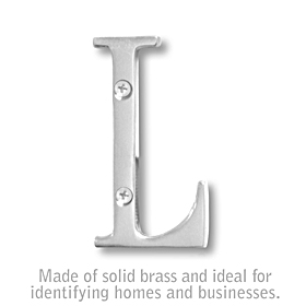 Salsbury 1240C-L 3 Inch Solid Brass Letter Chrome Finish L