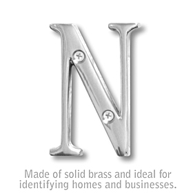 Salsbury 1240C-N 3 Inch Solid Brass Letter Chrome Finish N