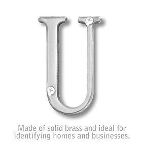 Salsbury 1240C-U 3 Inch Solid Brass Letter Chrome Finish U