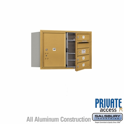 Salsbury 3705D-03GFP 4C Mailboxes 3 Tenant Doors Front Loading