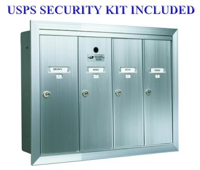 4 Compartment Apartment Style Vertical Mailbox Anodized Aluminum