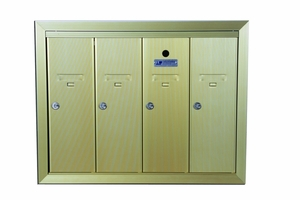 4 Compartment Fully Recessed Vertical Replacement Mailboxes- Gold Powder Coat
