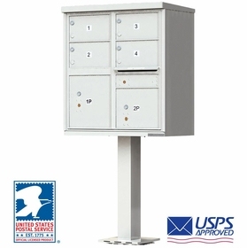 4 Door CBU Mailboxes with Extra Large Tenant Doors Gray