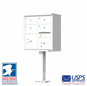 4 Door CBU Mailboxes with Extra Large Tenant Doors White
