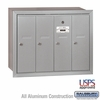Salsbury 3504ARU 4 Door Vertical Mailbox Aluminum Finish Recessed Mounted USPS Access