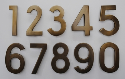 4 Inch Brass Numbers in Satin Brass Finish