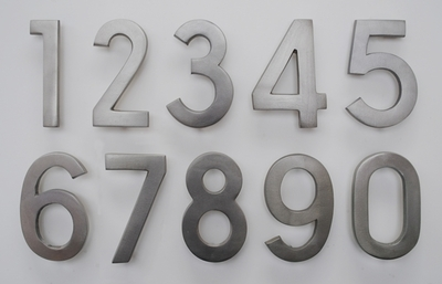 4 Inch Brass Numbers in Satin Nickel