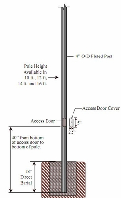 4 inch Diameter Fluted Aluminum Direct Burial Commercial Light Pole with Access Door