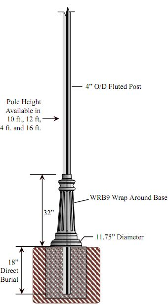 Special lite lighting 4 inch diameter fluted aluminum direct 4 inch diameter fluted aluminum direct burial commercial light pole with wrb9 base mozeypictures Images