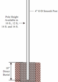 4 inch Diameter Smooth Aluminum Direct Burial Commercial Light Pole