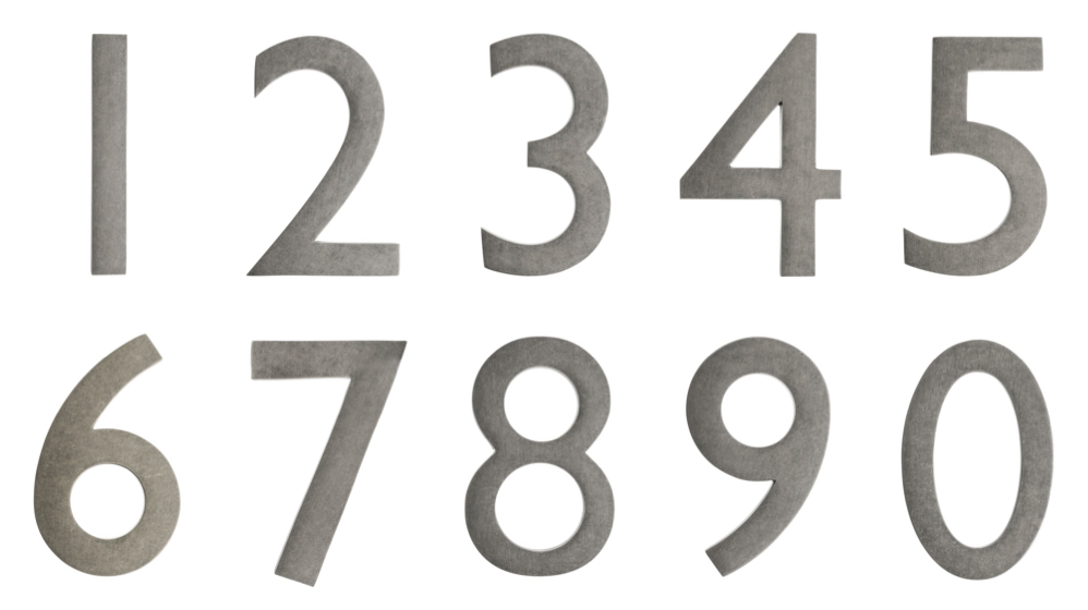 Beau 5 Inch Solid Brass House Numbers (0 9)   Choose Finish