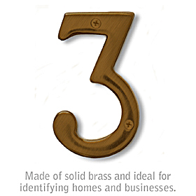 Salsbury 1220A-3 (4 Inch) Solid Brass Number Antique Finish 3