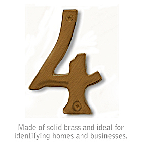 Salsbury 1220A-4 (4 Inch) Solid Brass Number Antique Finish 4