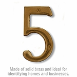 Salsbury 1220A-5 (4 Inch) Solid Brass Number Antique Finish 5