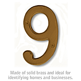 Salsbury 1220A-9 (4 Inch) Solid Brass Number Antique Finish 9