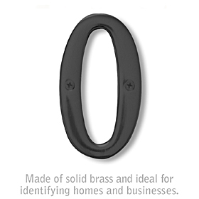 Salsbury 1220BLK-0 (4 Inch) Solid Brass Number Black Finish 0