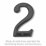 Salsbury 1220BLK-2 (4 Inch) Solid Brass Number Black Finish 2