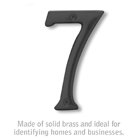 Salsbury 1220BLK-7 (4 Inch) Solid Brass Number Black Finish 7