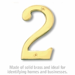 Salsbury 1220B-2 (4 Inch) Solid Brass Number Brass Finish 2