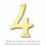 Salsbury 1220B-4 (4 Inch) Solid Brass Number Brass Finish 4