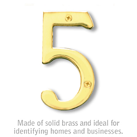 Salsbury 1220B-5 (4 Inch) Solid Brass Number Brass Finish 5