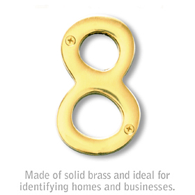 Salsbury 1220B-8 (4 Inch) Solid Brass Number Brass Finish 8
