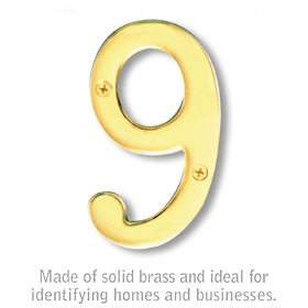 Salsbury 1220B-9 (4 Inch) Solid Brass Number Brass Finish 9