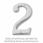 Salsbury 1220C-2 (4 Inch) Solid Brass Number Chrome Finish 2