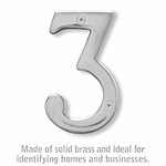 Salsbury 1220C-3 (4 Inch) Solid Brass Number Chrome Finish 3